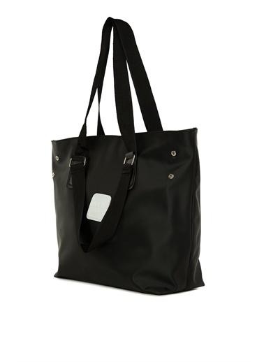 Bagmori  Kadın Çift Askı Detaylı Armalı Saten Çanta M000006003 Siyah